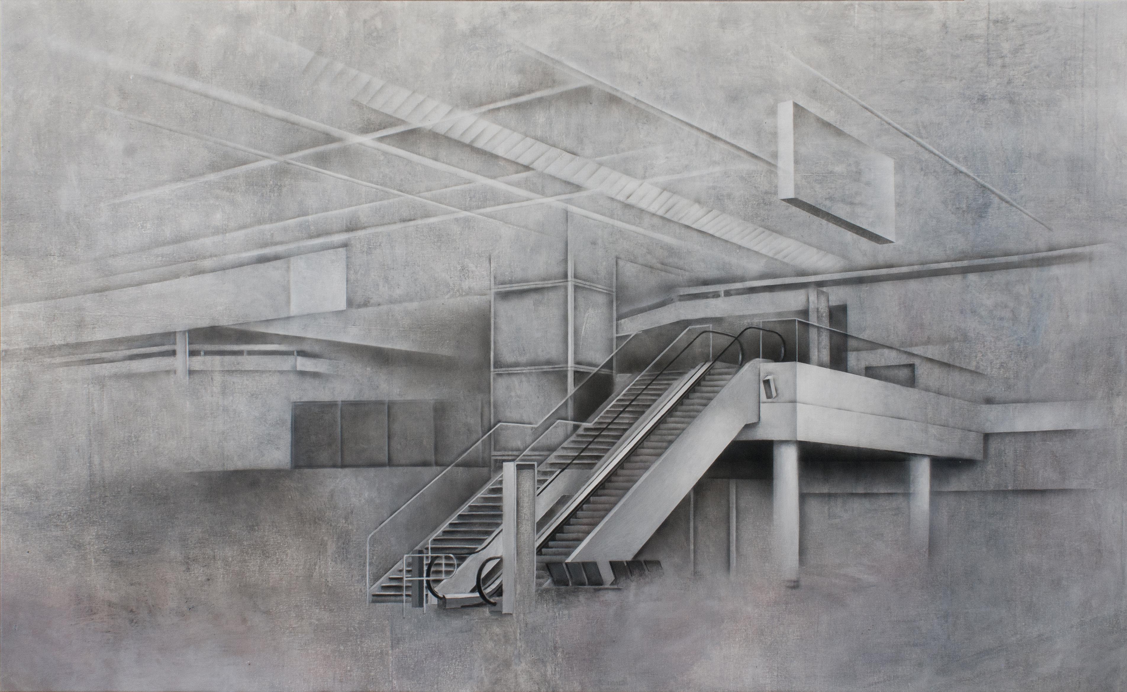 Štruktúra-schody, 120x195cm, akryl na plátne, 2015