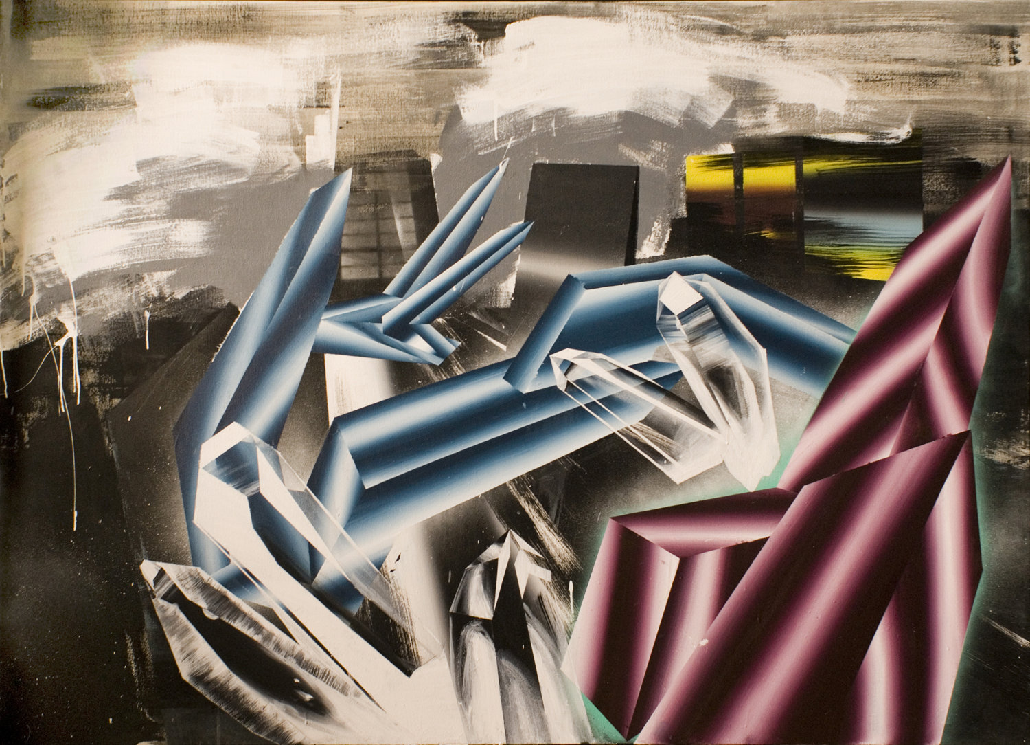 Lucia Horvátová, Crystallization, 2015, 135x190cm, acrylic and spray on canvas
